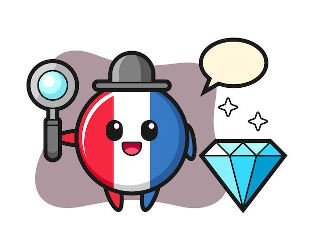 Illustratie van het karakter van het de vlagkenteken van frankrijk met een diamant Premium Vector