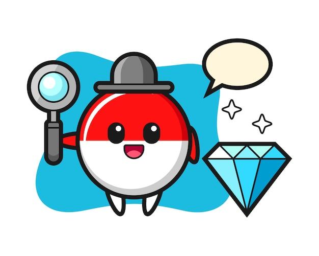 Illustratie van het karakter van het de vlagkenteken van indonesië met een diamant