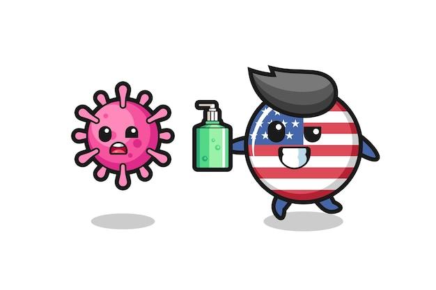 Illustratie van het karakter van het vlagkenteken van de verenigde staten dat kwaadaardig virus achtervolgt met handdesinfecterend middel, leuk stijlontwerp voor t-shirt, sticker, embleemelement