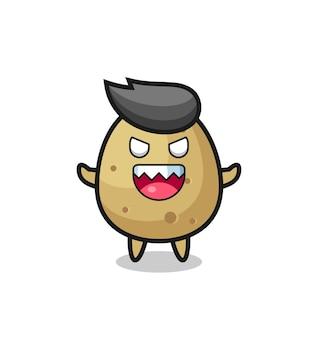 Illustratie van het kwade karakter van de aardappelmascotte, leuk stijlontwerp voor t-shirt, sticker, embleemelement