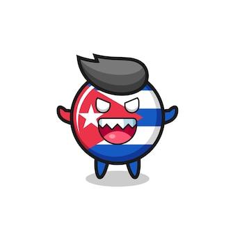 Illustratie van het kwade karakter van het de vlagkenteken van cuba, leuk stijlontwerp voor t-shirt, sticker, embleemelement