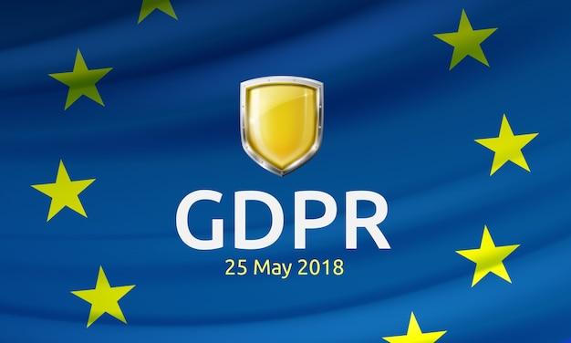 Illustratie van het label en het schild van de algemene verordening gegevensbescherming op de wapperende eu-vlag
