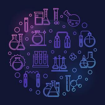 Illustratie van het laboratorium de ronde gekleurde illustratie van het overzichtspictogram