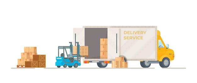 Illustratie van het laden van pakketten in een auto. levering van goederen uit de winkel. vlakke stijl tekening.