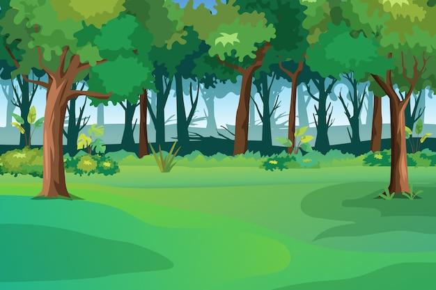 Illustratie van het lentelandschap met groen gras en blauwe hemel