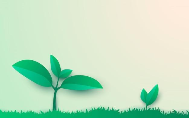 Illustratie van het leven van boom schiet papercut stijl