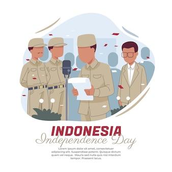 Illustratie van het lezen van de tekst van de proclamatie van indonesische onafhankelijkheid