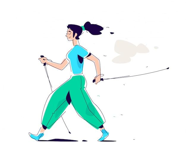 Illustratie van het meisje scandinavische lopen.