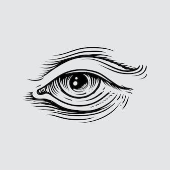 Illustratie van het menselijk oog in gegraveerde stijl
