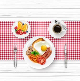 Illustratie van het menu van het ontbijt met gebakken ei