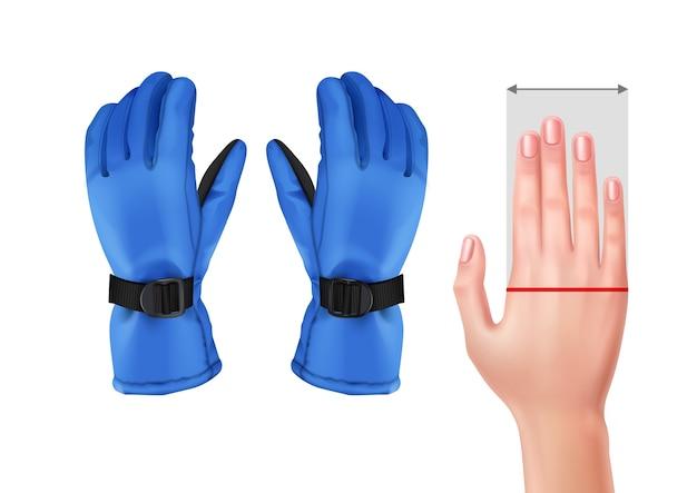 Illustratie van het meten van hand voor handschoenen met blauwe skihandschoenen