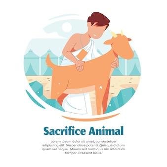 Illustratie van het offeren van boerderijdieren tijdens hajj