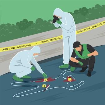 Illustratie van het onderzoek van de misdaadscène