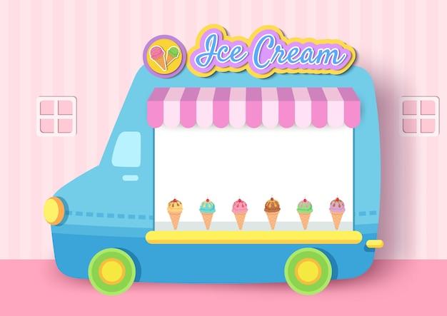 Illustratie van het ontwerp van het roomijsvrachtwagenframe voor menumalplaatje.