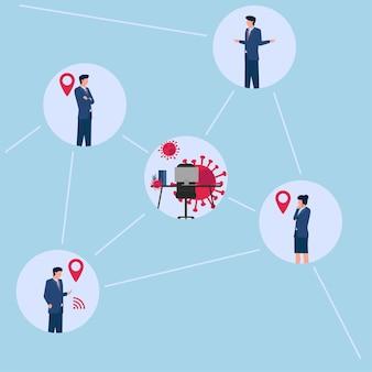 Illustratie van het opsporen van locaties waar mensen in contact komen met het virus.