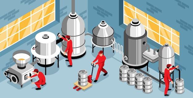 Illustratie van het productieproces van de brouwerij