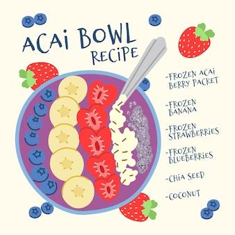 Illustratie van het recept van de acaikom
