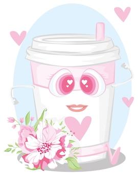 Illustratie van het runnen van zomer roze drankje. vector. pictogrammen voor de site op een witte achtergrond.