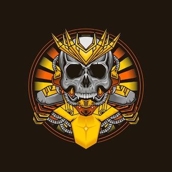 Illustratie van het schedelhoofd gedetailleerd ontwerp van koning cyborg