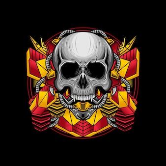 Illustratie van het schedelhoofd gedetailleerd ontwerp van oorlogscyborg