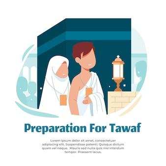 Illustratie van het uitvoeren van tawaf tijdens de hadjo