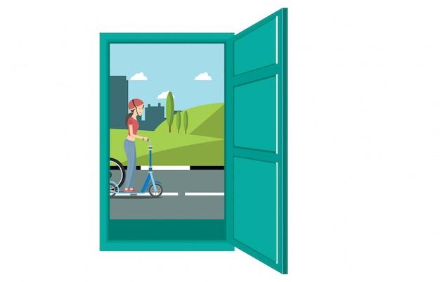Illustratie van het uitzicht vanaf de deur