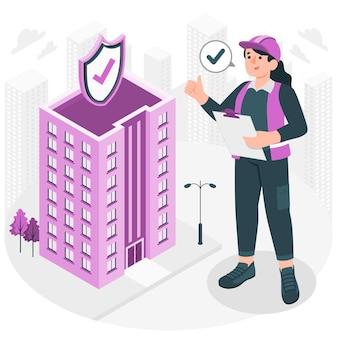 Illustratie van het veiligheidsconcept van het gebouw