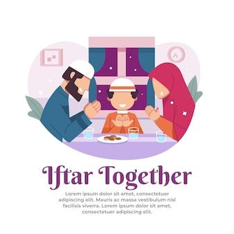 Illustratie van het verbreken van het vasten met het gezin in de maand ramadan
