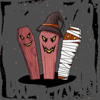 Illustratie van het versieren van mosterd voor helloween