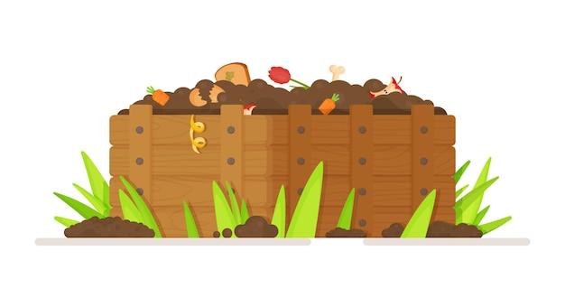 Illustratie van het verzamelen van afval voor recycling in een compostput. een doos met vellen, restjes en aarde. meststof voor de moestuin thuis.