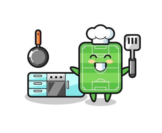Illustratie van het voetbalveldkarakter terwijl een chef-kok kookt, schattig stijlontwerp voor t-shirt, sticker, logo-element