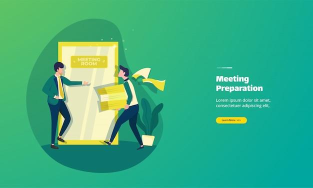 Illustratie van het voorbereiden van de bestemmingspagina van vergaderdocumenten