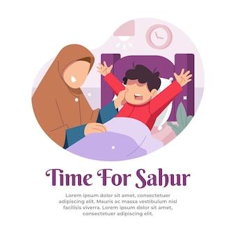 Illustratie van het wakker worden van een kind voor sahur in de maand ramadan