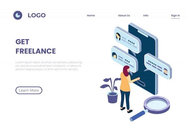 Illustratie van het zoeken naar freelancers via online platforms, freelance dienstverleners, beoordelingen en klantbeoordelingen in isometrische 3d-illustratiestijl