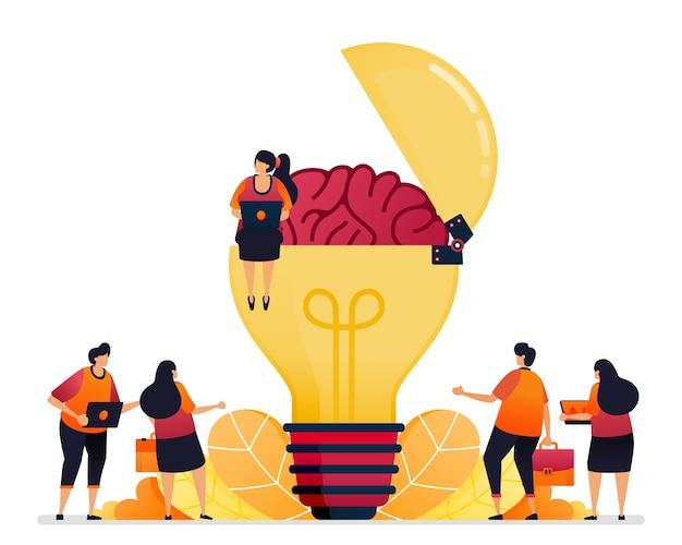 Illustratie van het zoeken naar ideeën, oplossingen, het openen van uw creatieve geest. brein van inspiratie