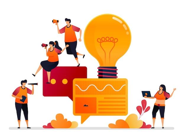 Illustratie van het zoeken naar inspiratie, ideeën in gesprekken, chat, praten, dialoog en brainstormen