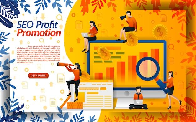Illustratie van het zoeken naar winst door seo in promotie te gebruiken