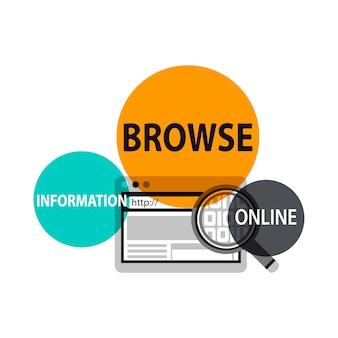 Illustratie van het zoeken van website