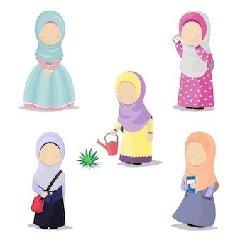 Illustratie van hijabmeisjes met verschillende activiteiten