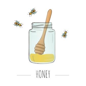 Illustratie van honingpot met lepel en bijen.