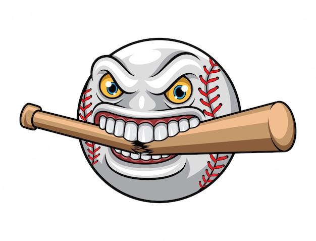 Illustratie van honkbal die knuppelmascotte eten