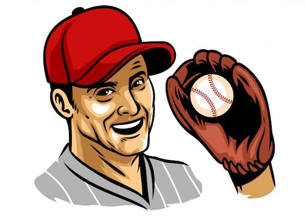 Illustratie van honkbalspeler die handschoen draagt