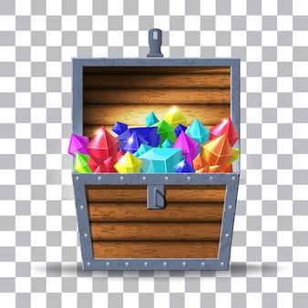 Illustratie van houten kist met diamanten