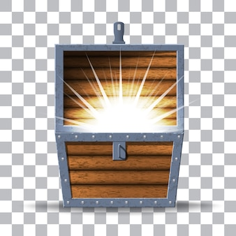 Illustratie van houten kist met rijkdom