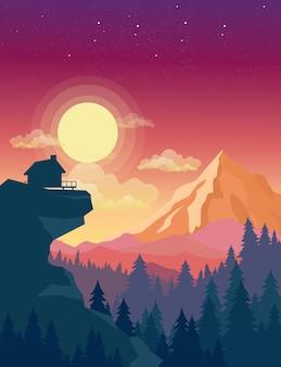 Illustratie van huis bovenop berg met mooie zonsondergang in bergenlandschap op achtergrond, zon en wolken in hemel in e.