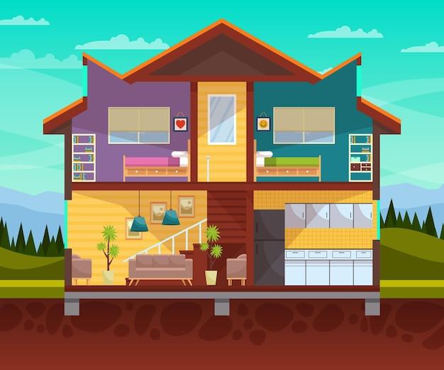 Illustratie van huis in dwarsdoorsnede