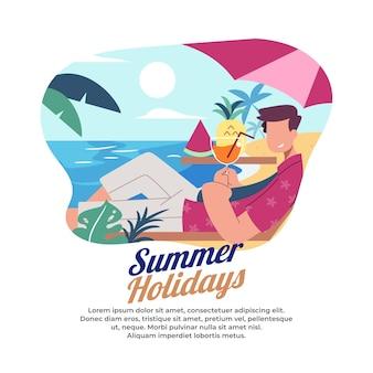 Illustratie van iemand die van een zomervakantie geniet op het strand