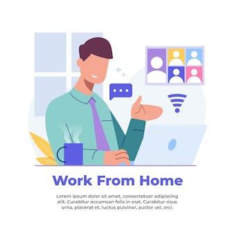 Illustratie van iemand die vanuit huis werkt tijdens een pandemie