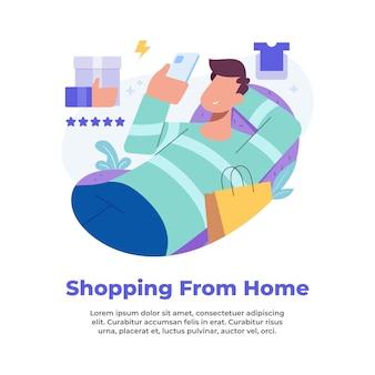 Illustratie van iemand die vanuit huis winkelt tijdens een pandemie