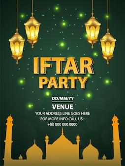 Illustratie van iftar-partijvlieger met gouden arabische lantaarn op groene achtergrond